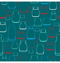 Seamless pattern with silhouette jars vector image