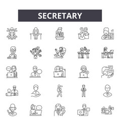 secretary line icons signs set linear vector image