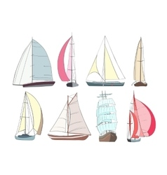 Set of boats with sails made in the vector image