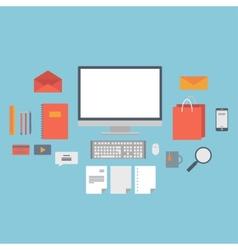 set web icons for business flat design finance vector image