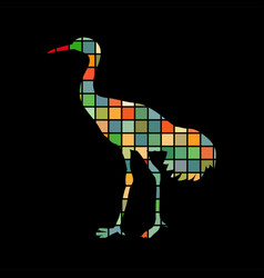 shadoof bird mosaic color silhouette animal vector image
