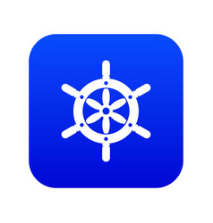ship wheel icon digital blue vector image