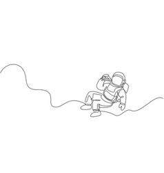 Single continuous line drawing spaceman relaxing vector