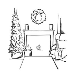 sketch interior with christmas vector image