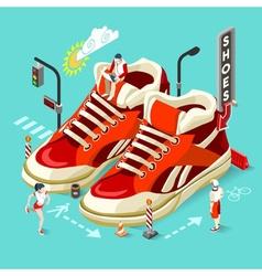 Sneakers Shop People Isometric vector image