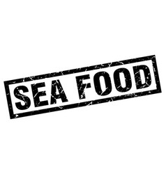 Square grunge black sea food stamp vector