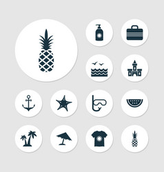 summer icons set with swimming mask starfish sea vector image