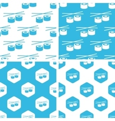 Sushi rolls patterns set vector