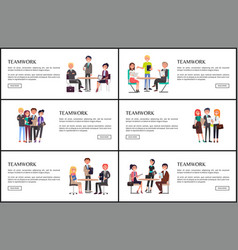 Teamwork on business conference colorful poster vector