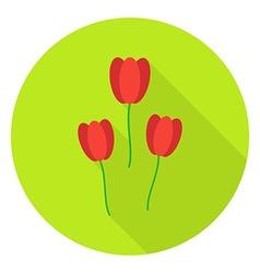 Three Tulips Garden Flowers Circle Icon vector image