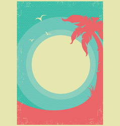 Tropical paradise retro poster background for text vector