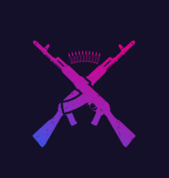 Two crossed assault rifles russian automatic guns vector