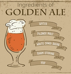 Vintage of card with recipe of golden ale vector