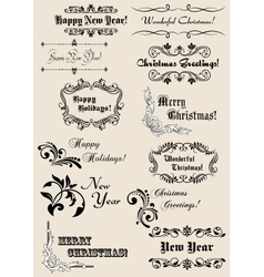 Winter holidays calligraphic elements vector image