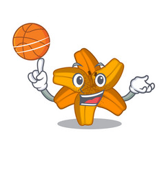 With basketball tiger lily flower in cartoon form vector