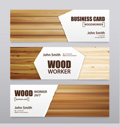 Wooden finishing horizontal banners vector