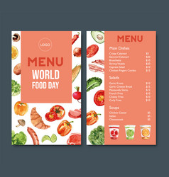 World food day menu design with tomato bell vector