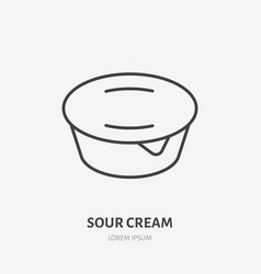 Yogurt flat line logo sour cream icon vector