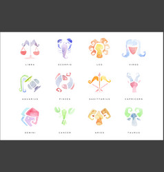 zodiac signs set hand drawn watercolor vector image