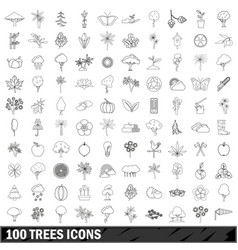 100 trees icons set outline style vector image