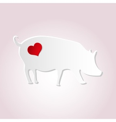 love pig from paper simple silhouette icon eps10 vector image vector image