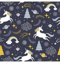 seamless pattern with unicorns Christmas theme vector image