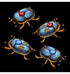 Set of Egyptian beetles with ruby and sapphire vector image