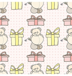 teddy bear seamless pattern vector image