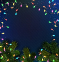 Blue background with realistic garland and fir vector image