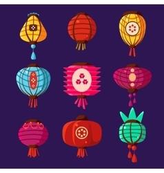 Colourful lanterns set vector