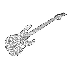 Electric guitar coloring book for adults vector image
