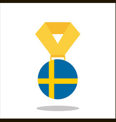 medal with the sweden flag isolated on white vector image