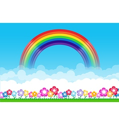 Rainbow on Nature background with green grass and vector image vector image