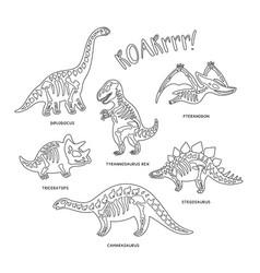 cute cartoon dinosaur skeletons silhouettes in vector image vector image