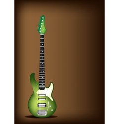 Green Electric Guitar on Dark Brown Background vector image