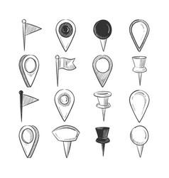 hand drawn doodle navigation pins set vector image vector image
