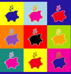 piggy bank sign with the currencies pop vector image vector image