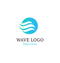 Wavy wave in round shape red and blue feather vector