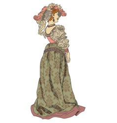 woman from nineteenth century in a dress vector image vector image