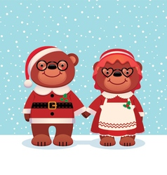 Bear Santa Claus and his wife vector image