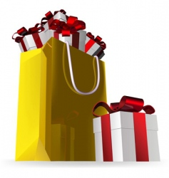 gift bag and presents vector image vector image