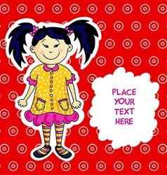 Little asian girl card vector image