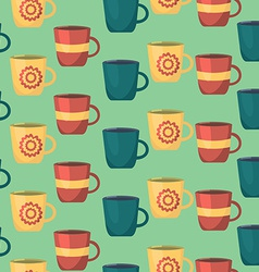 Seamless Pattern with Cups Teatime Background for vector image