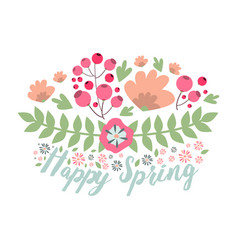 spring typographic flower badge design vector image