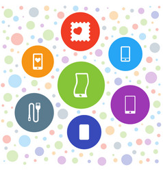 7 cellphone icons vector image