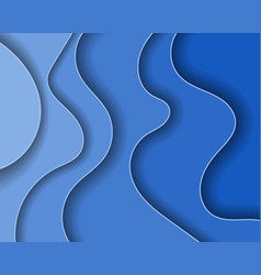 Abstract blue paper waves and seacoast for banner vector