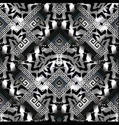 Abstract greek key seamless pattern black silver vector