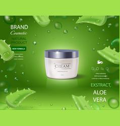 Aloe vera cream on green background vector