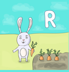 alphabet letter r and rabbit abc book vector image