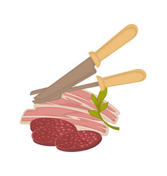 bacon and sausage meat icon for butchery vector image